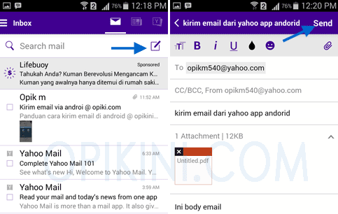 Menggunakan Aplikasi Yahoo - Android