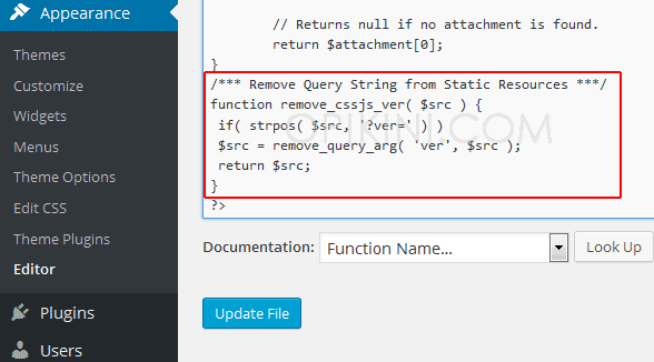 menghilangkan pesan Remove Query Strings From Static Resources