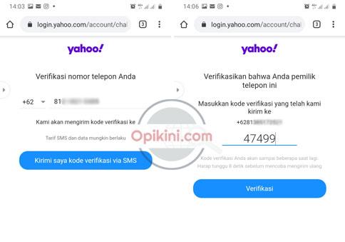 kode verifikasi via SMS