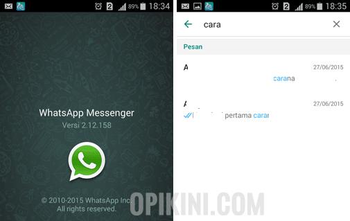 Fitur Terbaru WhatsApp Android - Menampilkan Teks Percakapan di Hasil Pencarian