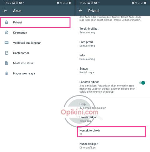 Memblokir Kontak WhatsApp Melalui Menu Pengaturan