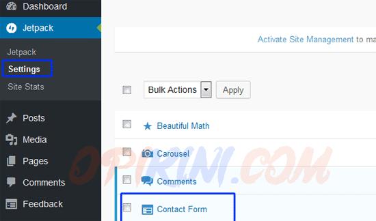 Cara Pertama : Menggunakan Fitur Contact Form Jetpack