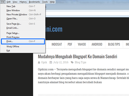Cara Menyimpan atau Mencetak Web Sebagai PDF di Mozilla Firefox (PC)