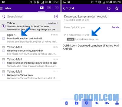 Cara Save Lampiran Yahoo Mail Android