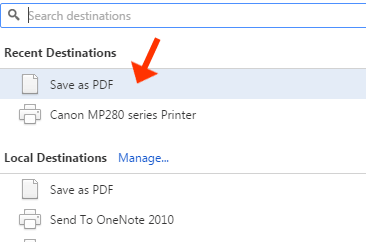 Save as PDF Chrome