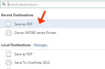 Save as PDF Chrome