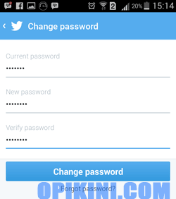 Password Twitter di HP Android