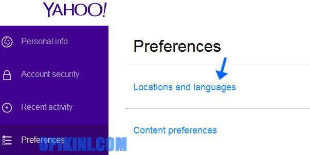 Ubah Bahasa Yahoo