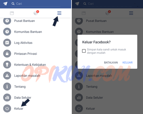 log out dari akun FB di HP Android