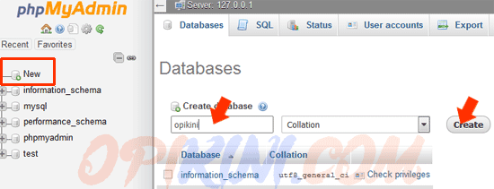 Buat Database melalui phpMyAdmin
