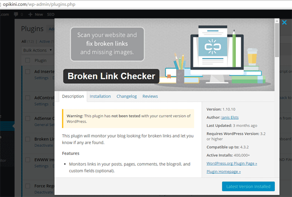 Cek Dengan Plugin Broken Link Checker