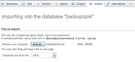 Restore MySQL