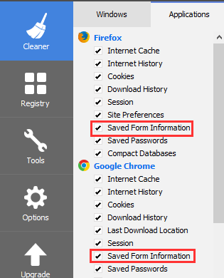 Saved Form Information