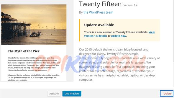 Cara Menghapus Theme Bawaan WordPress