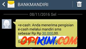 Uang Ke E-Cash Sudah Masuk