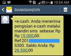 pengisian e-cash melalui mandiri sms