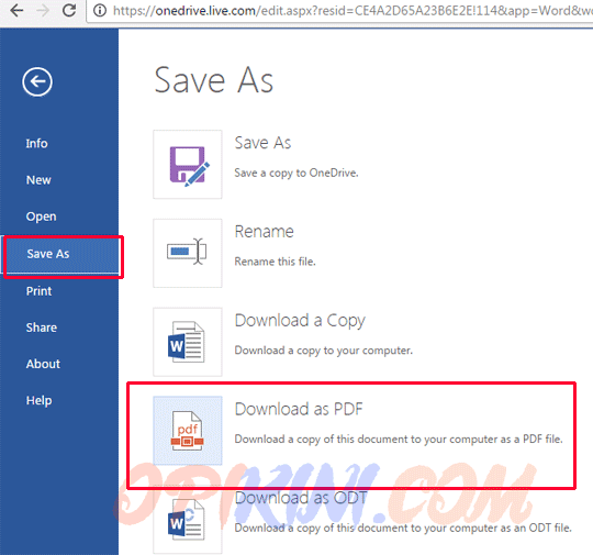 Save as - Download as PDF