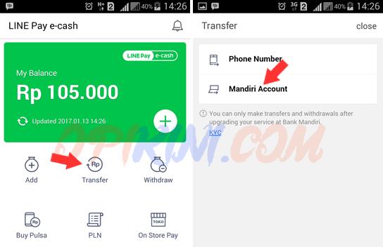 Cara Transfer Saldo Line Pay E-cash Ke Rekening Bank Mandiri