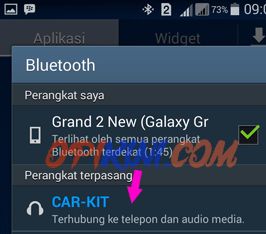 ponsel terhubung ke head unit via bluetooth (CAR-KIT)
