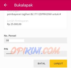 Masukan no ponsel e-cash