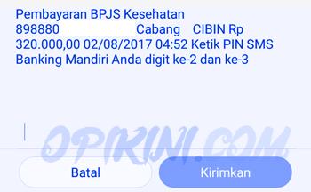 Masukan 2 digit PIN SMS banking Mandiri
