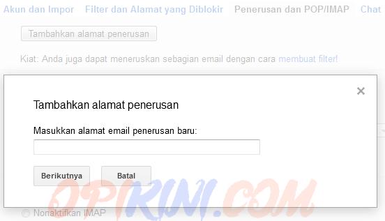 Masukkan alamat email penerusan