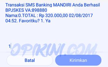 Transaksi SMS Banking MANDIRI anda berhasil