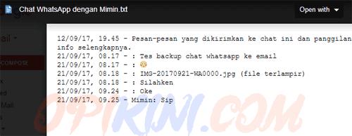 Kenapa Isi Chat Hasil Backup ke Email Hanya Berisi Satu Baris?