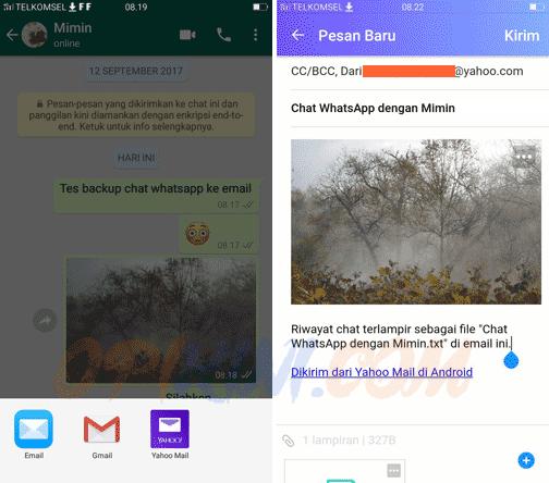 Pilih aplikasi email apa yang akan kita pakai untuk mengirim isi chat