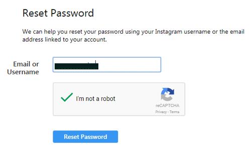 Reset Password Akun IG