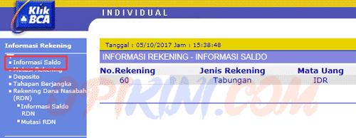 Cek No Rekening BCA Lewat Internet Banking