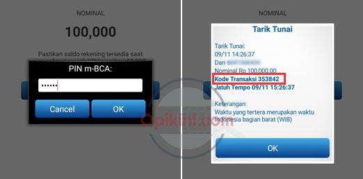 kode transaksi tarik tunai