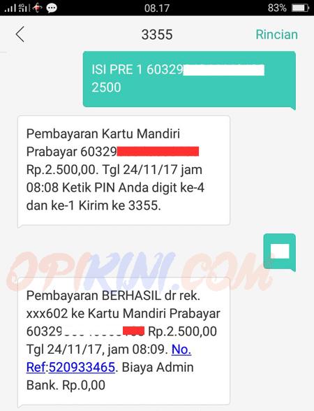 Top Up Lewat SMS Banking Mandiri Ketik