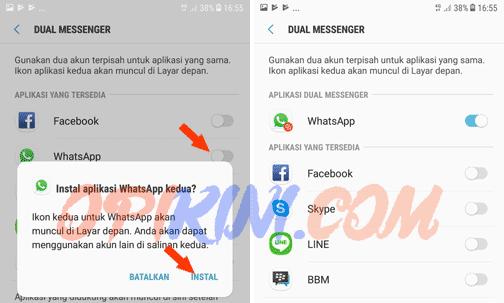 Instal aplikasi WhatsApp kedua