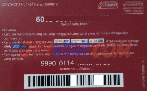 Kartu BRIZZI BRI di Alfamart