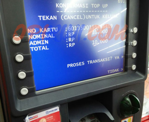 konfirmasi TOP UP BRIZZI BRI