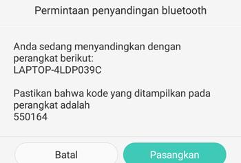 permintaan penyandingan bluetooth