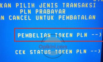Pilih menu Pembelian Token PLN