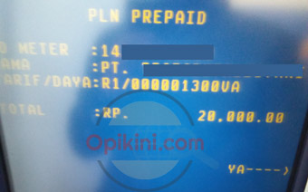 layar konfirmasi PLN Prepaid