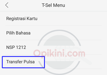 Transfer Pulsa Telkomsel Melalui T-Sel Menu