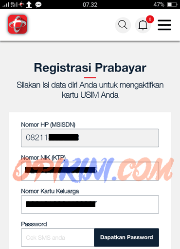 NIK dan KK yang digunakan untuk registrasi no Simpati