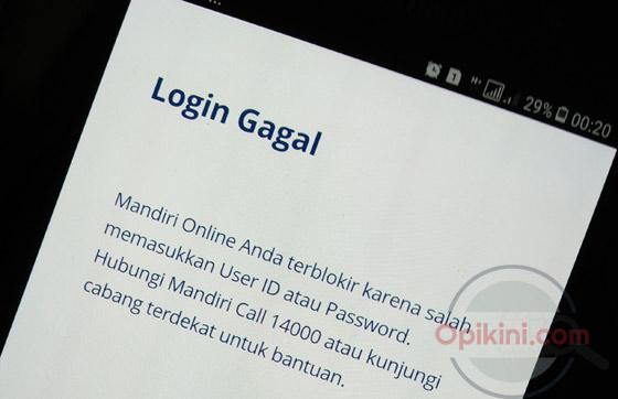 Mengatasi Mandiri Online Terblokir Karena Salah Password Opikini