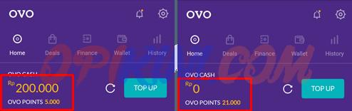 saldo OVO sebelum dan sesudah digunakan
