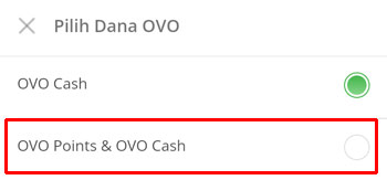 pilih OVO Points & OVO Cash