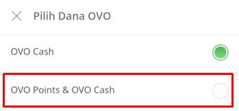 pilih OVO Points & OVO Cash
