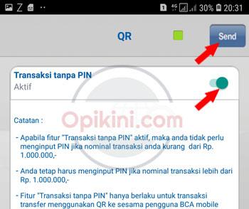 aktifkan transaksi tanpa PIN