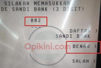 masukan kode bank BRI yaitu 002