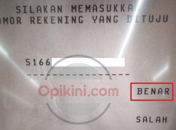Masukan nomor rekening Bank BRI tujuan