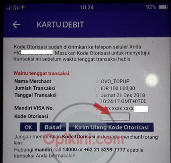 Top Up OVO Dengan Kartu Debit Berhasil