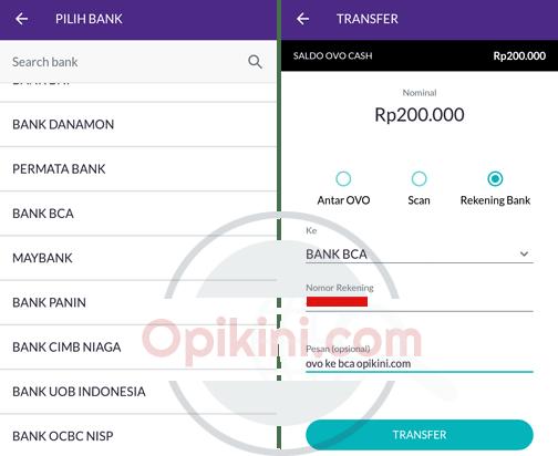 Cara Transfer Saldo OVO Ke Rekening Bank - Opikini